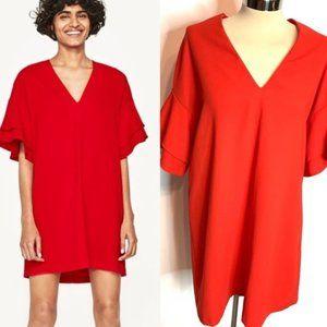 Zara ruffle sleeve mini dress